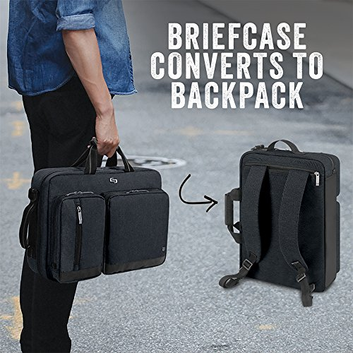Solo Duane 15 6 Inch Laptop Hybrid Briefcase Converts To Backpack Slate Amazon Exclusive Ez Shopping Cart