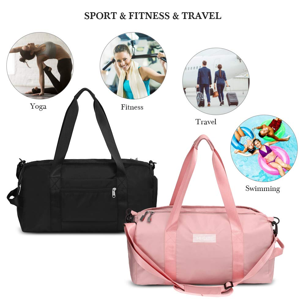 Sports Gym Bag with Wet Pocket & Shoes Compartment Waterproof Swim Overnight Travel Duffel Bag for Women and Men 20-35L (pink)
