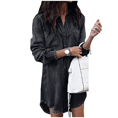d827db8adae8 Abetteric Womens Silm Fit Single-Breasted Jean Frayed Raw Hem Long Sleeve Dresses  Black XS