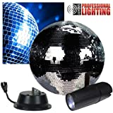 "12"" Disco Mirror Ball Complete Party Kit with LED Pinspot and Motor - Adkins Professional Lighting"