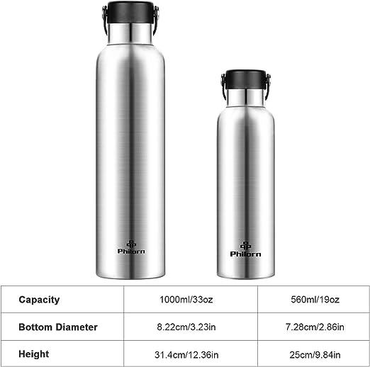 PHILORN Botellas para Beber Termos de 1000 ml Termos de Acero Inoxidable Termo de vac/ío Botellas de Agua aisladas de Acero Inoxidable se Mantienen Calientes Durante 12 Horas Negro