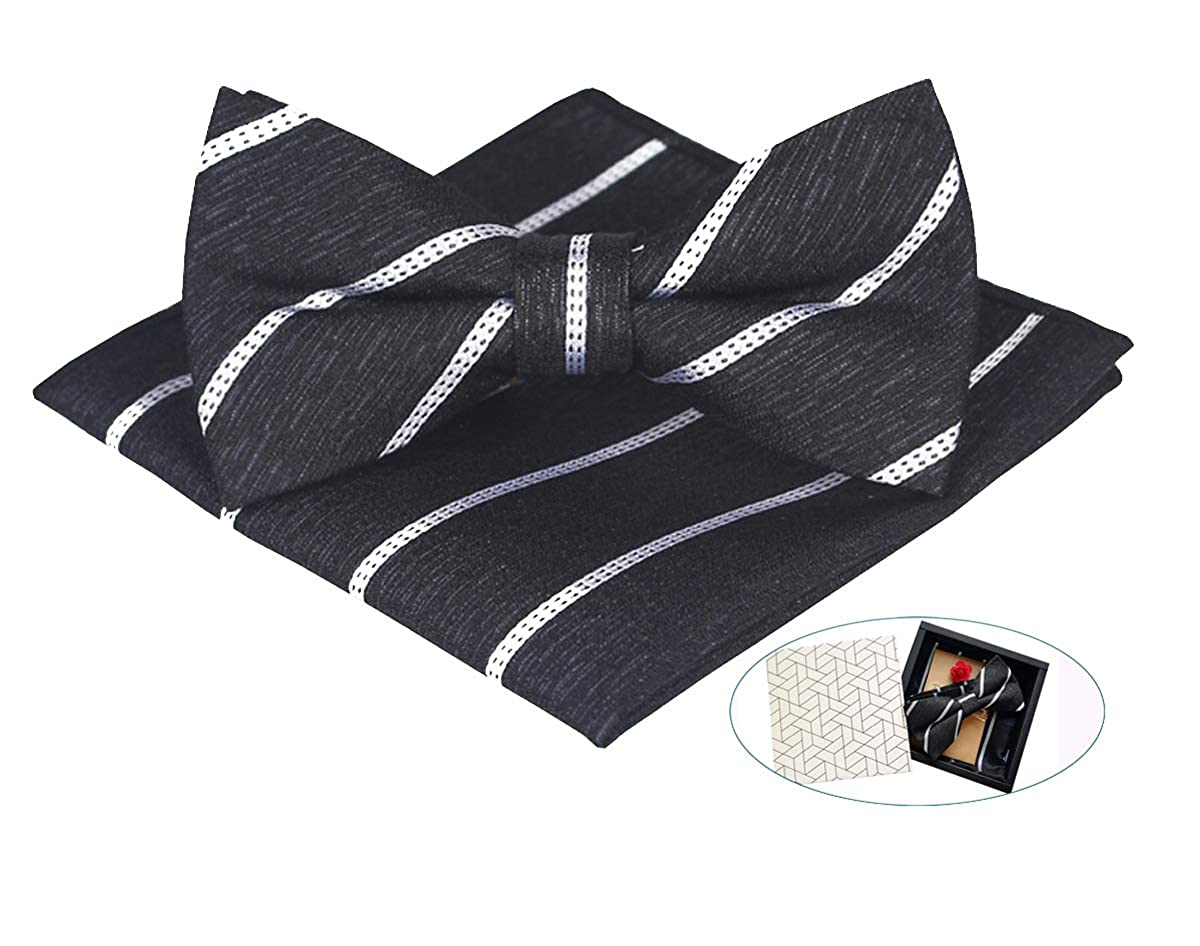 GERINLY Mens Accessory For Father/'s Day Gift Pre Tied Bow Tie Pocket Square Set Chic Handkerchief