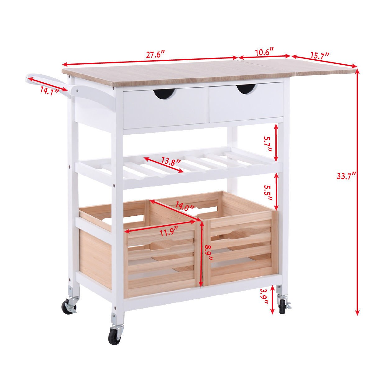 Costzon Kitchen Trolley Island Cart Dining Storage with Drawers Basket Wine Rack by Costzon (Image #3)