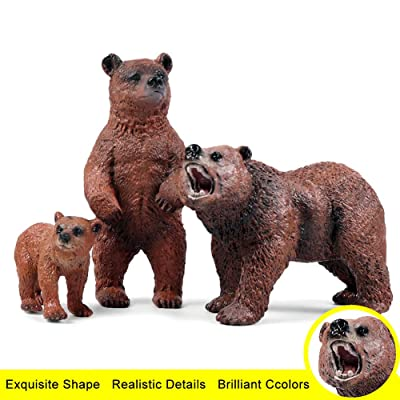 ZBmiluddeer Bear Model,3Pcs/Set Simulation Bear Wild Animal Model Home Desktop Ornament Children Toy: Sports & Outdoors