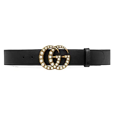 GG Pearl Buckle Belt for Women Black Leather at Amazon