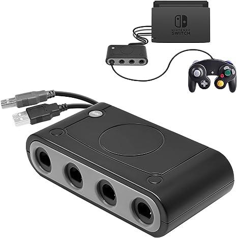 Gamecube - Adaptador de mando para Nintendo Switch, GC Controller Adapter para Wii U, Nintendo Switch y PC USB, adaptador de 4 puertos negro: Amazon.es: Videojuegos