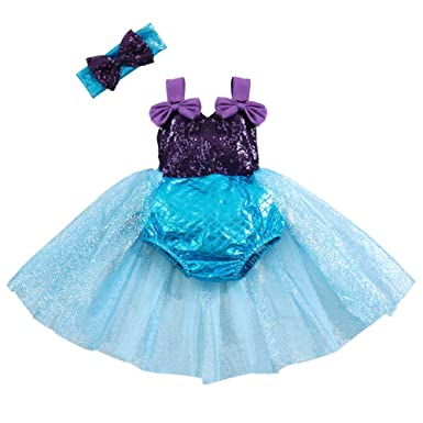 998a32ac1e20 Amazon.com  Baby Girl Outfit Mermaid Romper with Headband Swimsuit Party  Costume Purple  Clothing