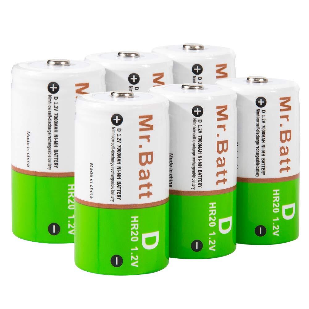 D Rechargeable Batteries, Mr.Batt 7000mAh NiMH D Batteries, 6 Pack by Mr.Batt