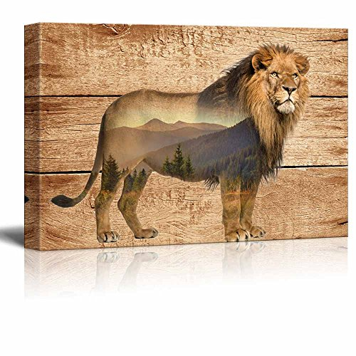 Double Exposure Rustic Lion in the Wild on Vintage Wood Background Wall Decor