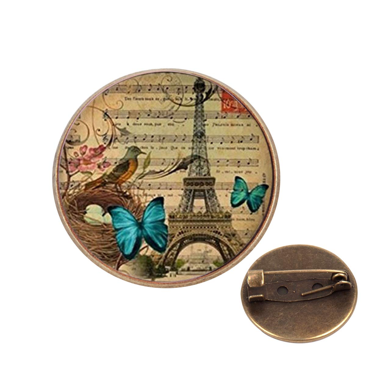 Pinback Buttons Badges Pins Vintage Butterfly Paris Eiffel Lapel Pin Brooch Clip Trendy Accessory Jacket T-Shirt Bag Hat Shoe