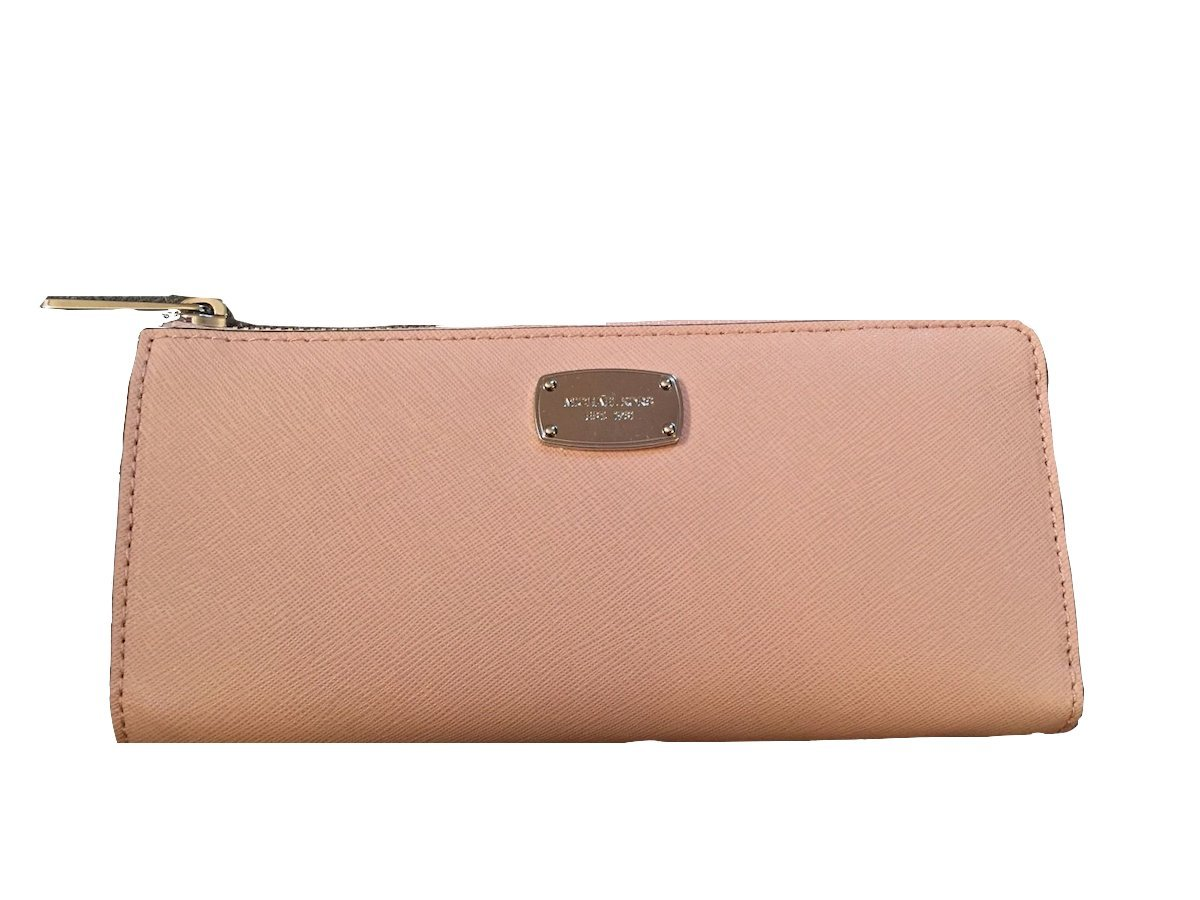 Michael Kors Jet Set Travel Large Three Quarter Zip Around Leather Wallet (Ballet)