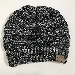 CC Style Ponytail Messy Bun Beanie Hat with Elastic Top Hole, Outdoor Fashion Autumn Winter Wear Toque with C.C Tag