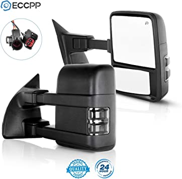 Texture Black 050382-5211-1556231 Towing Mirror by ECCPP Pair Side Mirror Replacement for 1999-2002 Ford F250 F350 F450 F550 Super Duty with Power Heated Telescopic Manual-Folding