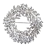 ACCESSORIESFOREVER Women Bridal Wedding Jewelry Crystal Rhinestone Flower Round Brooch Pin BH171 Silver