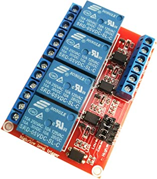 5V 4 channel Relay module with optocoupler isolation High and low level trigger