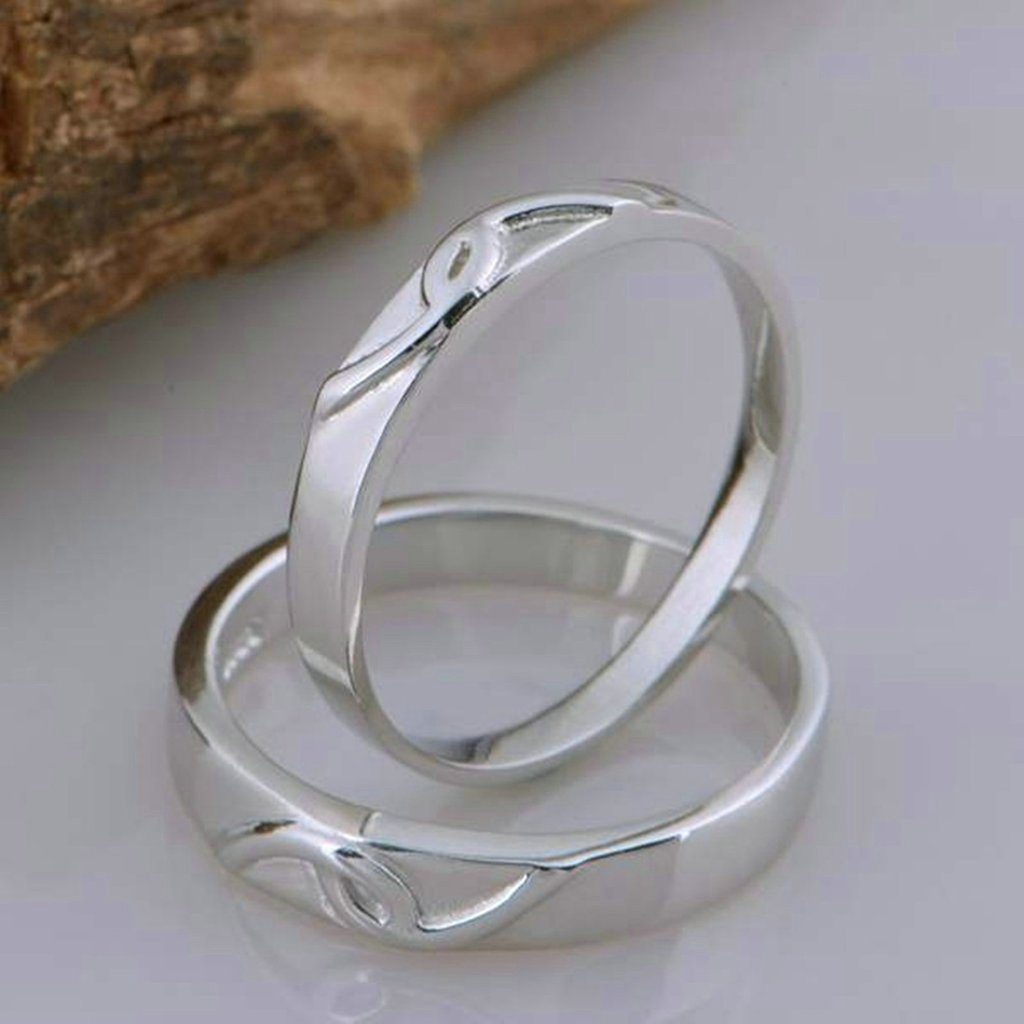 Gnzoe Women Wedding Ring Band Interlocking Heart Puzzle Rings Matching Rings 3mm//4mm Price One Pc