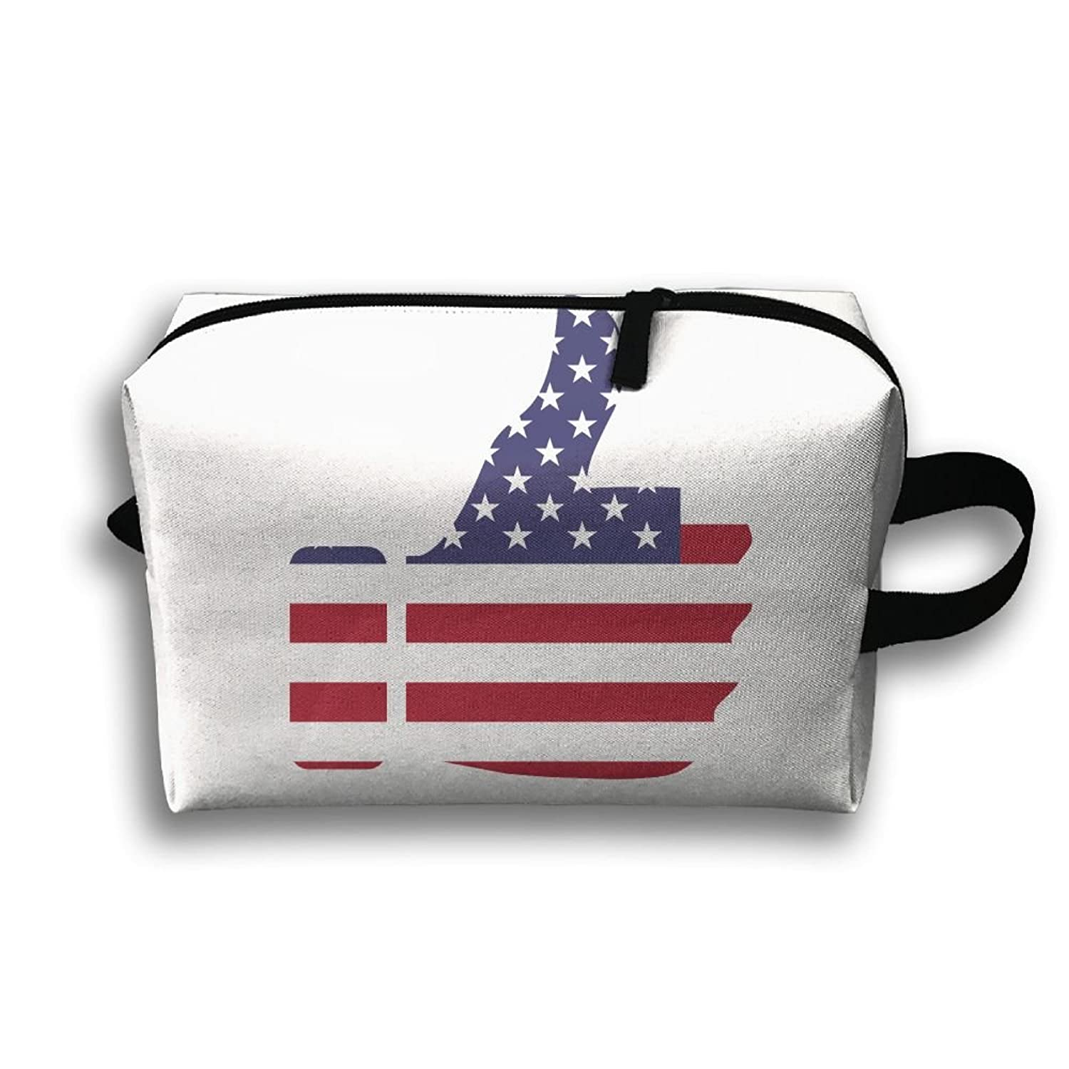 Storage Bag Travel Pouch Thumb American Flag Purse Organizer Power Bank Data Wire Cosmetic Stationery Holder