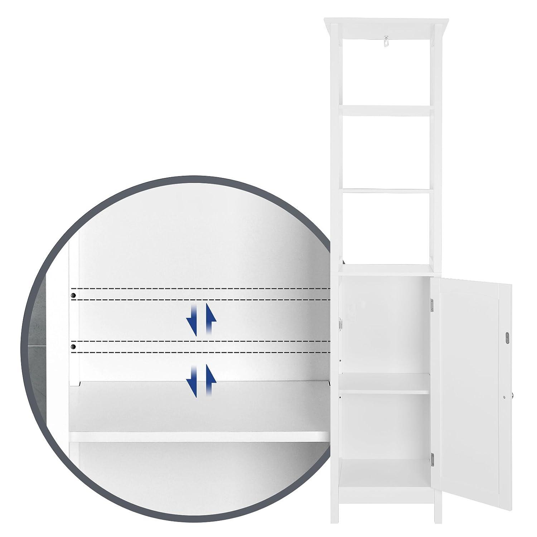 Estanter/ía Multiusos con 3 Compartimentos Abiertos y balda Ajustable BBC63WT Mueble Columna de ba/ño Blanco 40 x 32 x 160 cm con Estilo r/ústico Madera VASAGLE Armario para ba/ño