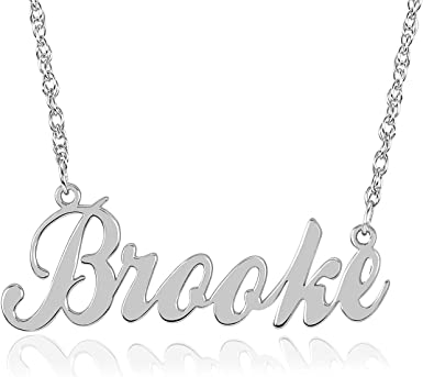 Personalized Cursive Name Plate Necklace 9.5x35mm Available in Silver /& Gold High-Grade Material | Up to 8 Letters 0.35x1.37