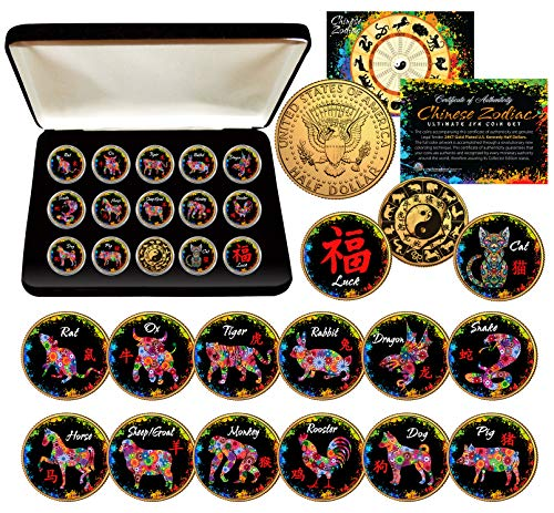 Coin Asian Set - CHINESE ZODIAC PolyChrome JFK Half Dollar 24K Gold Gilded 15-Coin COMPLETE SET