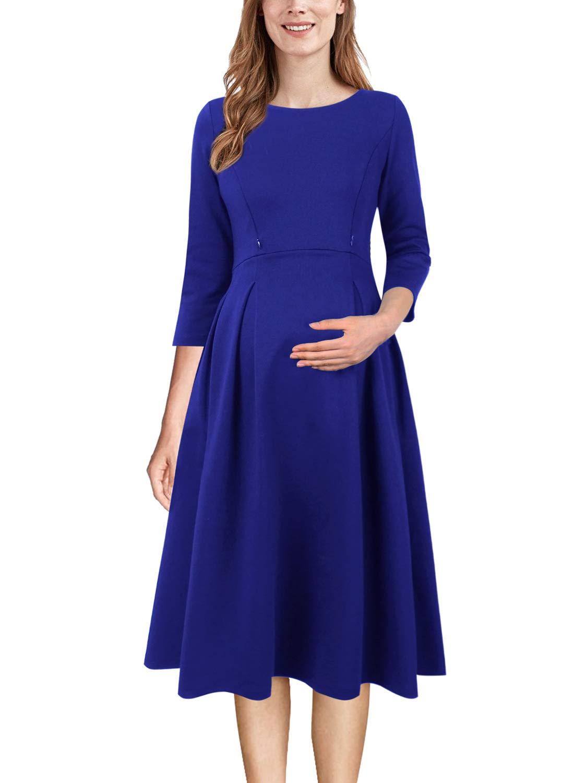 VFSHOW Womens Mama Maternity Nursing Pockets Pleated Skater A-Line Dress 018 BLU XS