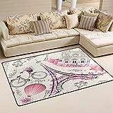 Sunlome Pink Paris Eiffel Tower Landmark Area Rug Rugs Non-Slip Indoor Outdoor Floor Mat Doormats for Home Decor 60 x 39 inches