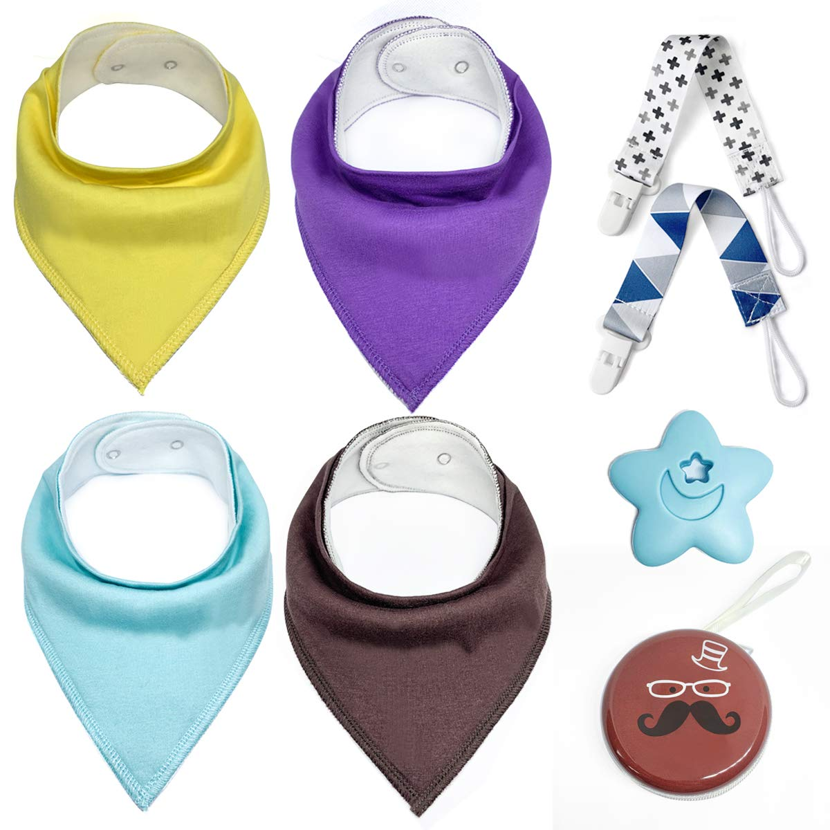 4 Packs Infant Bibs Teether 2 Packs Pacifier Clips Pacifier Holder Case Baby Bandana Drool Bibs Set