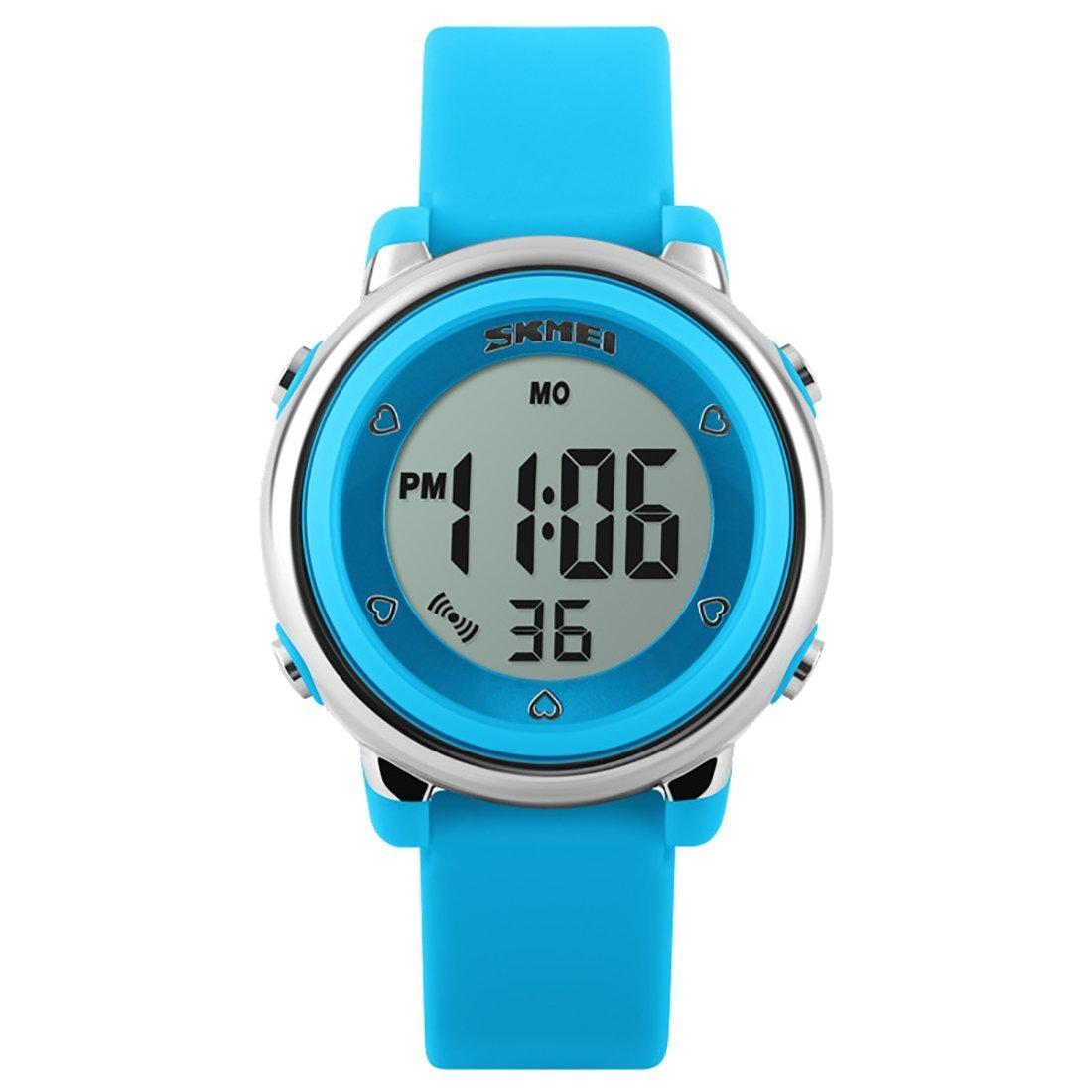 Kid Watch Multi Function 50M Water Resistant Sport LED Alarm Stopwatch Digital Child Wristwatch (Light Blue)