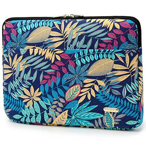 Aestee 13-13.3'' Canvas Fabric Laptops Sleeve Case for New MacBook Pro 2016 13.3-inch & Macbook Air 13 Inch Retina Display & Up to 13.3 Inch Laptop Protective Bag, Colorful Leaves by Aestee