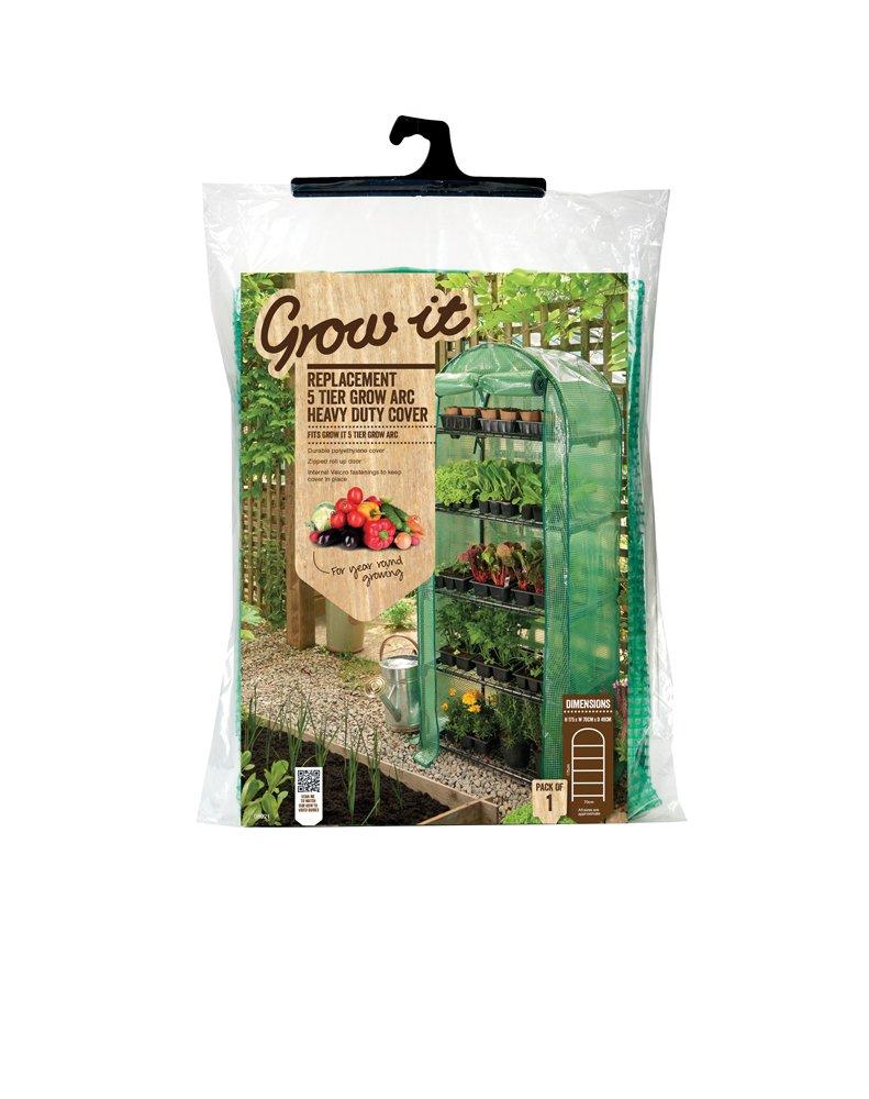 Grow It 08921 49 x 70 x 175 cm Replacement 5 Tier Grow Arc Heavy Duty Cover - Green Gardman Ltd