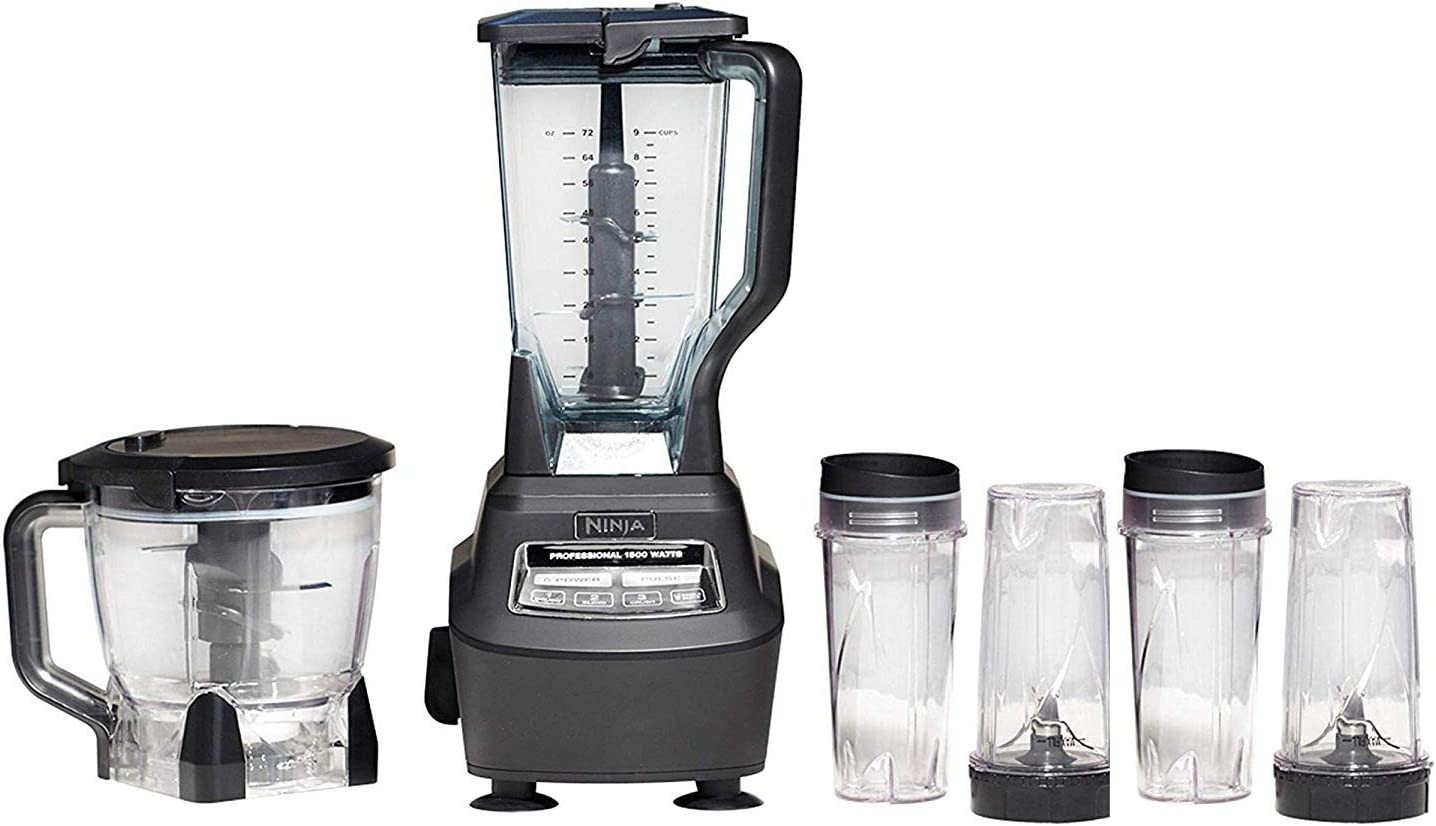 Mega Kitchen System (BL770) Blender/Food Processor with 1500W Auto-iQ Base, 72oz Pitcher, 64oz Processor Bowl, (4) 16oz Cup for Smoothies, Dough & More