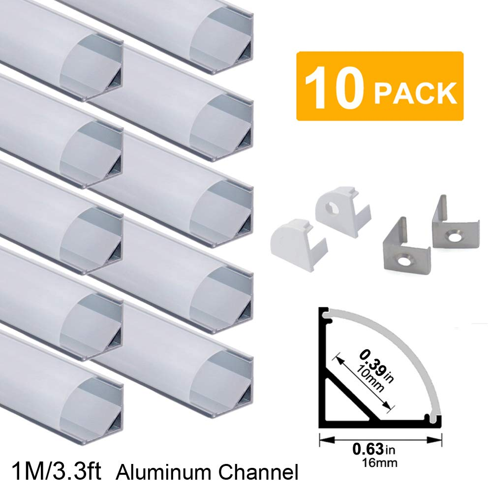 hunhun 10-Pack 3.3ft/1Meter V Shape LED Aluminum Channel System with Milky Cover, End Caps and Mounting Clips, Aluminum Profile for LED Strip Light Installations, Very Easy Installation by hunhun
