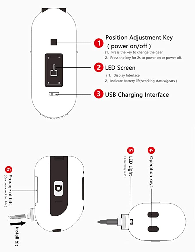 LNLJ Inteligente Destornillador eléctrico Recargable ...