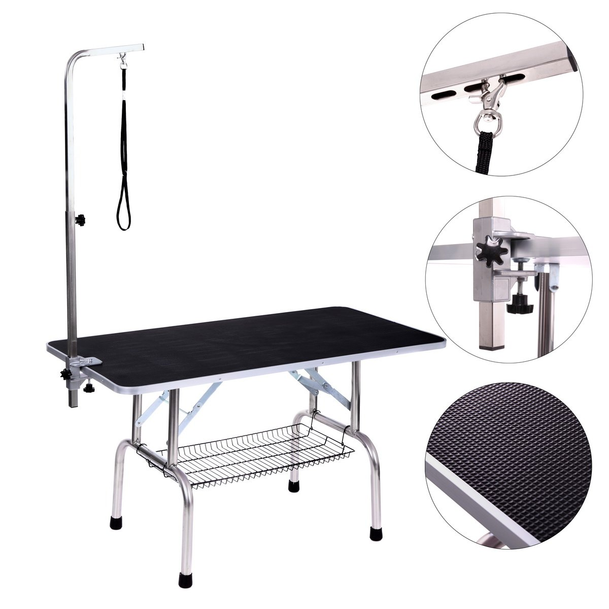 Dog Grooming Table, Adjustable Arm and Clamp for Pet, Grooming Table with Grooming Loop (48'' x 24'')