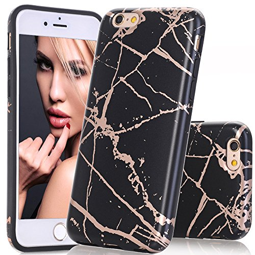 iPhone 6 6s Case, Rose Gold Black Marble Design Case, BAISRKE Slim Flexible Matte Soft TPU Bumper Shockproof Rubber Silicone Skin Cover Case for Apple iPhone 6 6s 4.7 inch
