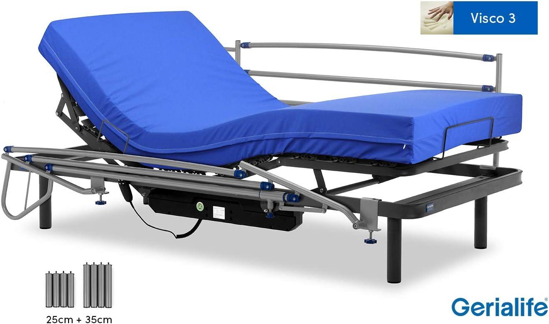 Gerialife® Pack Cama articulada eléctrica | Colchón Sanitario viscoelástico | Barandillas abatibles | Patas más Altas (105x190, Gris Grafito)