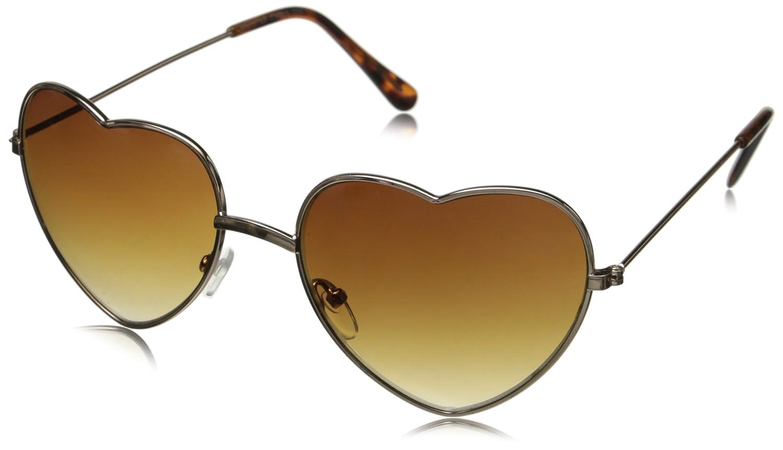 Thin Metal Frame Heart Shape Sunglasses Gold/Silver