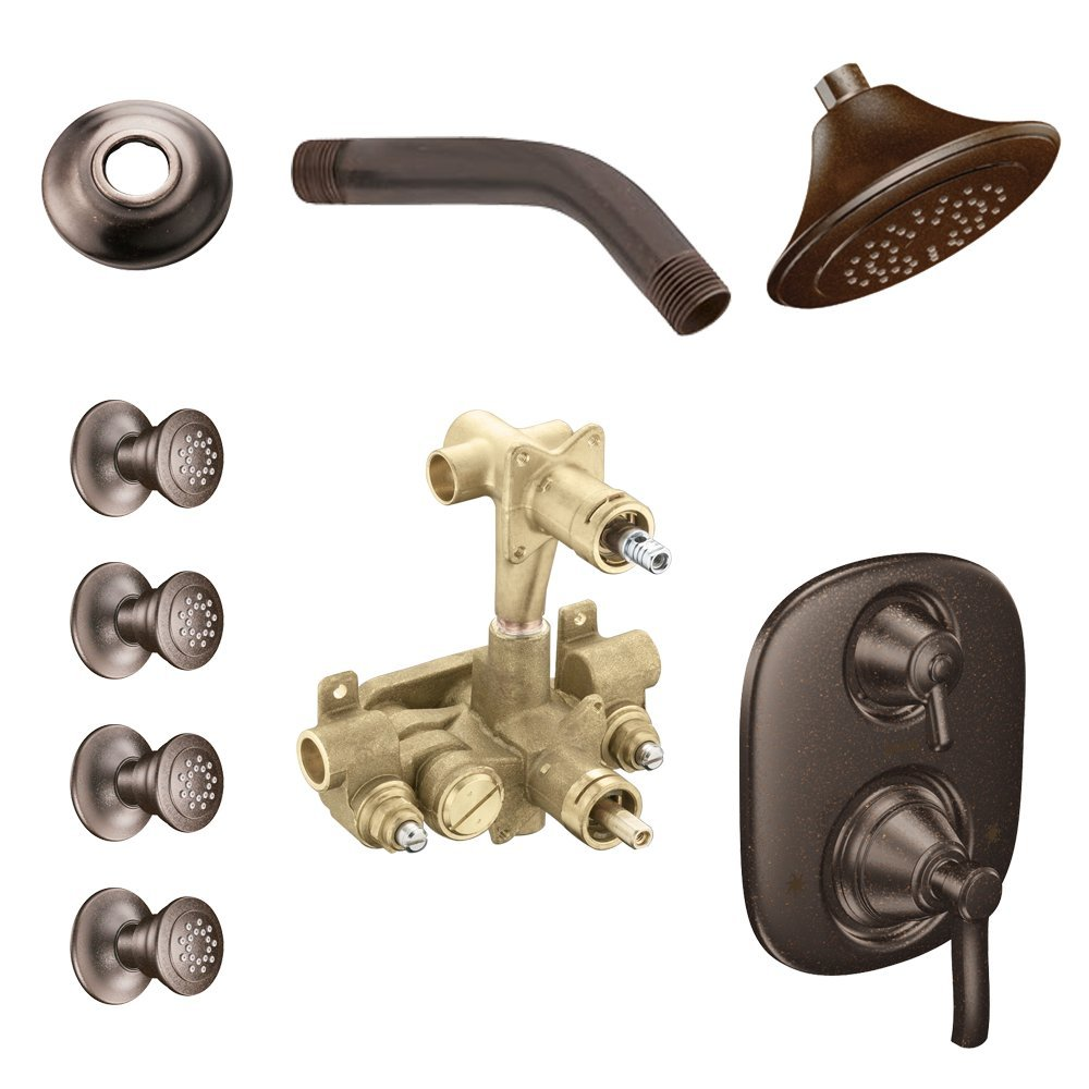 Moen KSPRO-SB-TS203ORB Rothbury Vertical Spa Kit with Shower, Head, Arm, and Flange, Oil Rubbed Bronze