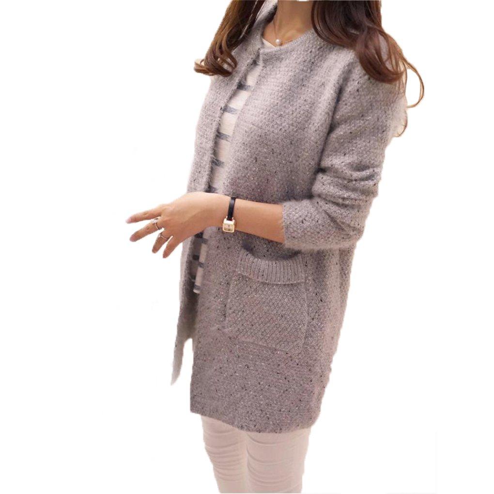 Babysbreath Mujeres suéter mediados de longitud de manga larga de bolsillo delgado suelta primavera de punto de otoño chaqueta de abrigo Beige