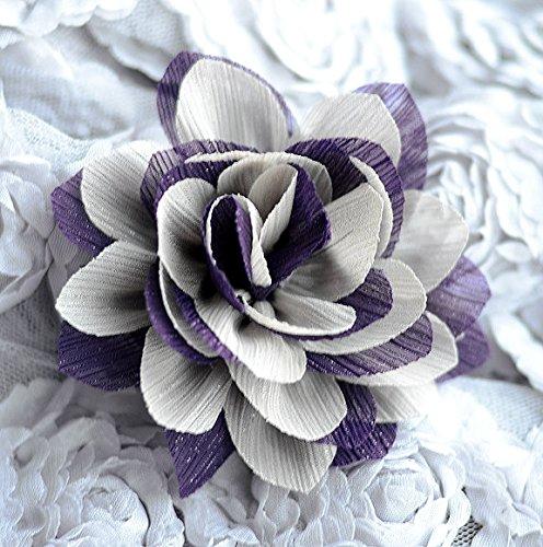 Silk Chiffon Rosette - 4 Chiffon Silk Rose Flower Rosette Dark Purple Beige Bridal Wedding Baby Hair Bow Headband Clip FREE Combine Shipping US SF059