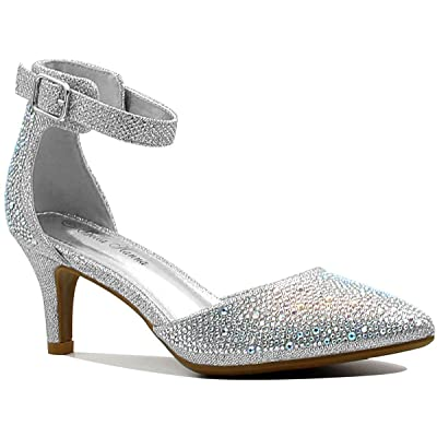Stylish & Comfort Shoes Womens Rhinestone/Metallic Leather/Nubuck/Patent Leather Pointed Toe Mid Heel Dress Pumps Sparkling Sequined Ankle Strap Party Sandals | Pumps