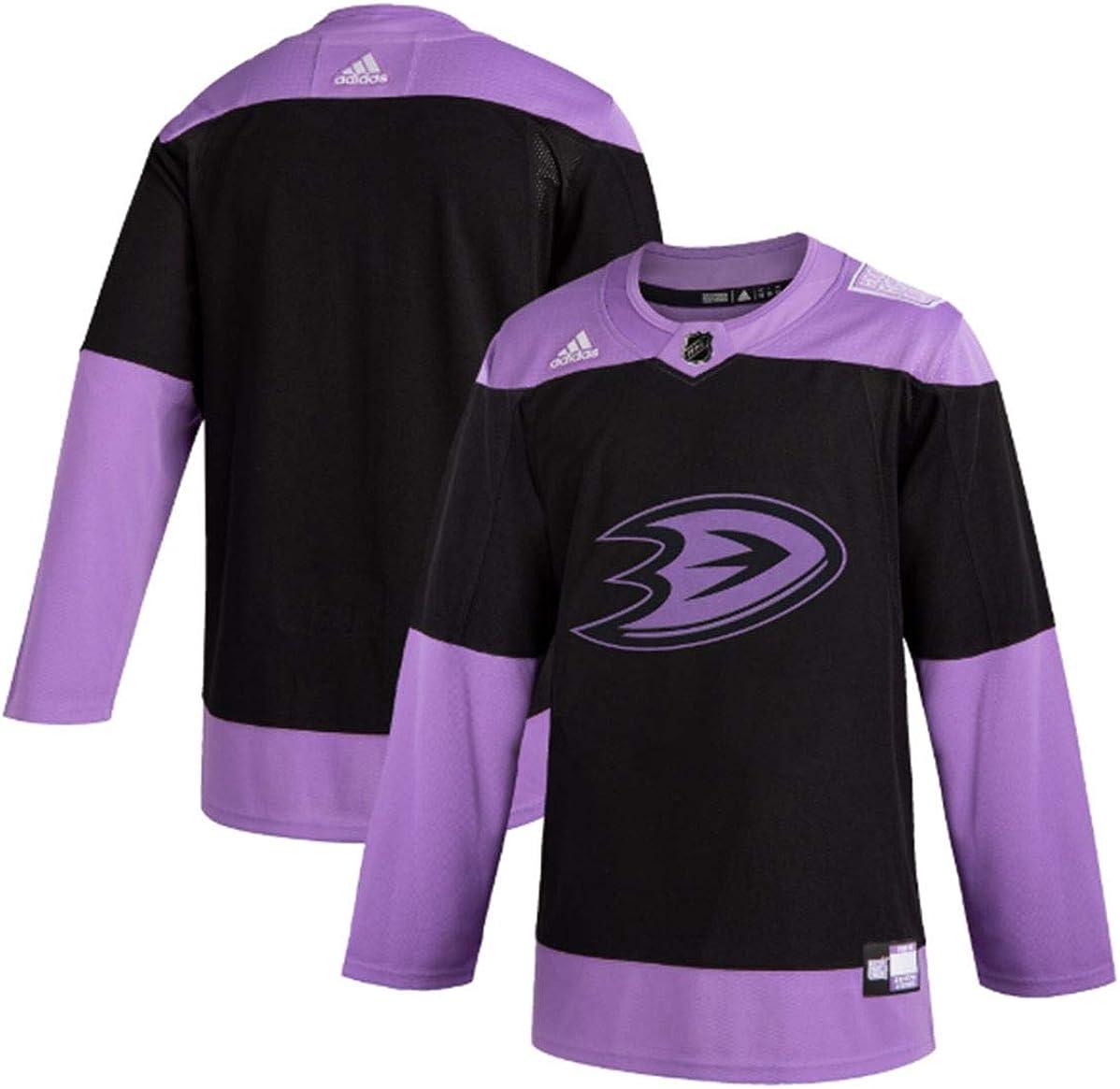 adidas Anaheim Ducks Mens Black/Purple Hockey Fights Cancer Practice Jersey