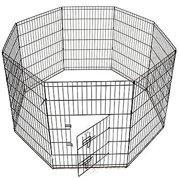 Idealchoiceproduct Pet Playpen Pet Pen Folding Wire Dog Exercise Pen Pet Fence Yard Fence 8 Panel Cage 24-42 Inch-Black Color