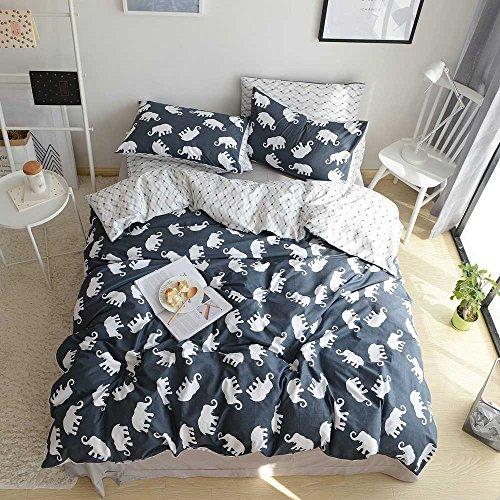 VClife Kids Elephant Duvet Cover Queen Cotton geometrical Wave Pattern Bedding Sets Reversible Dark Blue White Quilt Comforter Cover Sets for Boy Girl, Zipper Closure Corner Ties (Elephant, Queen) -