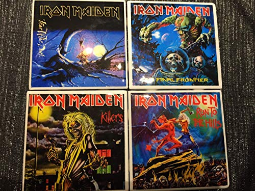 (Set of four Iron Maiden Album Art Ceramic coasters * Free Shipping * Run to the Hills/Killers/Fear of the Dark/Final Frontier)