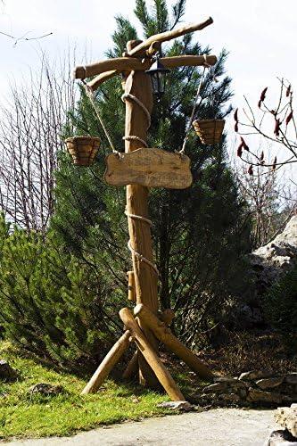 Tradehub Jardín Rústico Lámpara farola con flores, Pergola y Bienvenida caracteres + grabado | linterna de roble o de madera de acacia: Amazon.es: Jardín