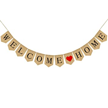 Amazon.com: Burlap Welcome Home Banner - Cartel de ...