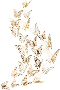 48pcs. 3D Champagne Gold Butterfly Wall Stickers Wedding Decoration Mirror Shiny Paper Wall Decal Removable Mural Butterflies Sticker Bedroom Living Room Showcase Classroom School Nursery Birthday Aniversary Engagement Baby Shower cake Decor