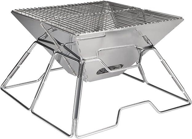 BBQ Portable Charcoal Grill, Cookey Compact Folding Camping Fog Fait d'acier Inoxydable, Parfait pour le Camping, Pique Nique, Cour