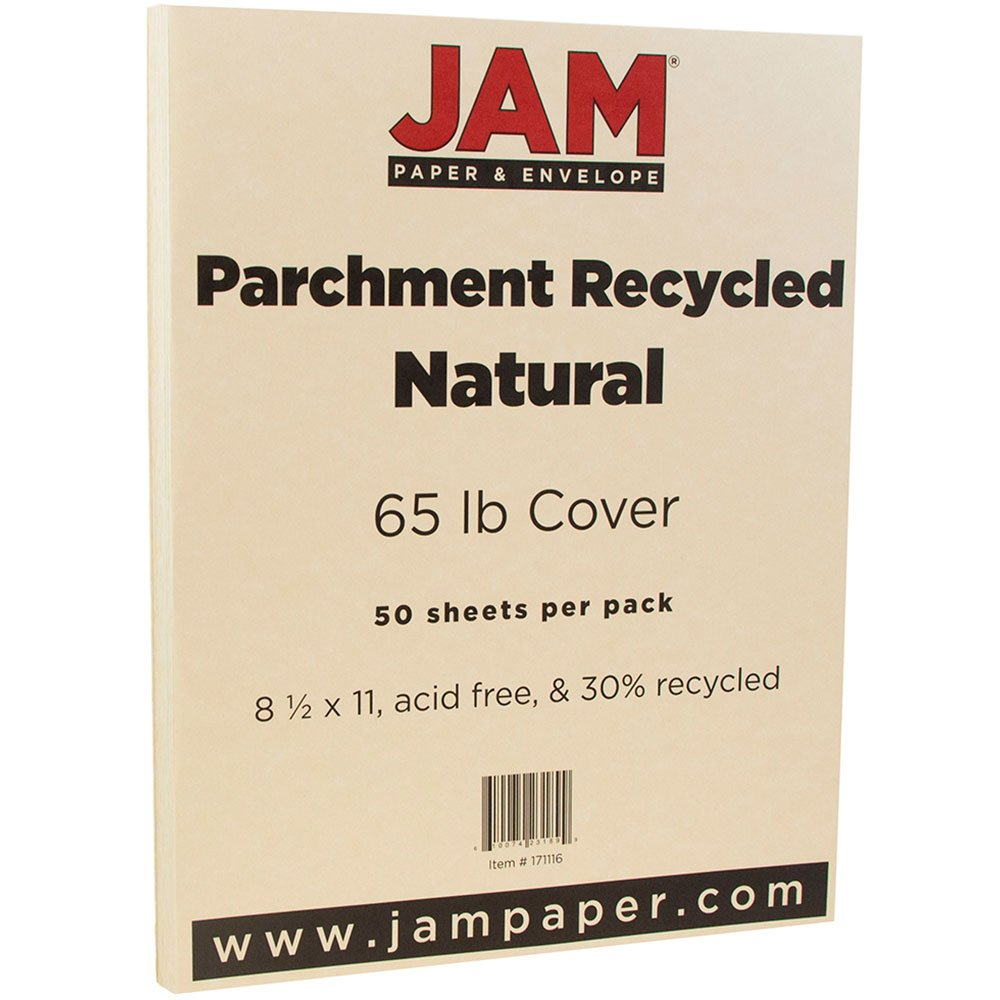 JAM PAPER Parchment 65lb Cardstock - 8.5 x 11 Letter Coverstock - Natural Recycled - 50 Sheets/Pack by JAM Paper (Image #2)